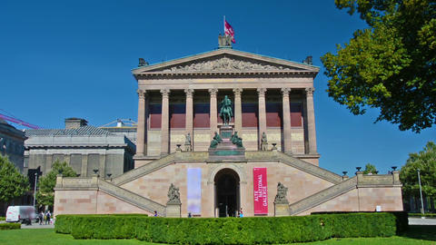Facade of the National Gallery of Berlin Footage