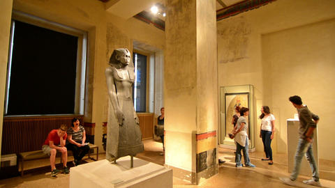 Berlin, Germany. Circa August 2016. Tourists visiting The Egyptian museum. Neues Footage