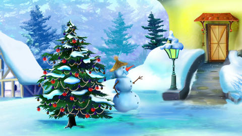 Wonderful Christmas Day with Snowman and Christmas Tree CG動画素材