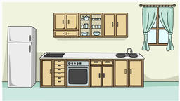 Kitchen sketch illustration hand drawn animation transparent Footage