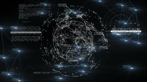 Global Business Network with Numbers rotating in Space. 3d seamless animation of Animation