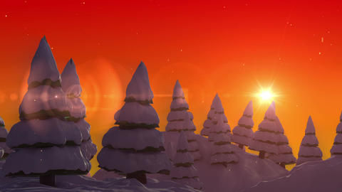 SHA Snow land Sunset Animation