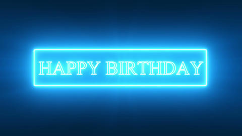 HAPPY BIRTHDAY Text_Blue Neon Animation