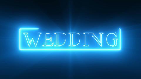 WEDDING Text_Blue Neon Stock Video Footage