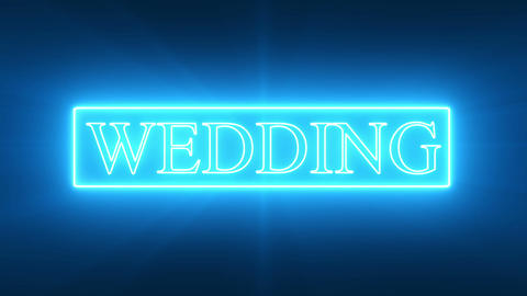 WEDDING Text_Blue Neon Animation