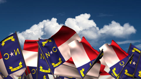 Waving North Carolina State Flags Animation