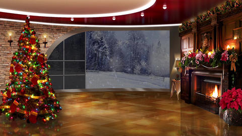 Christmas TV Studio Set 15 - Virtual Green Screen Background Loop Live Action