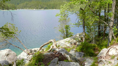 Beautiful Eibsee in Bavaria is popular place for recreation Live Action