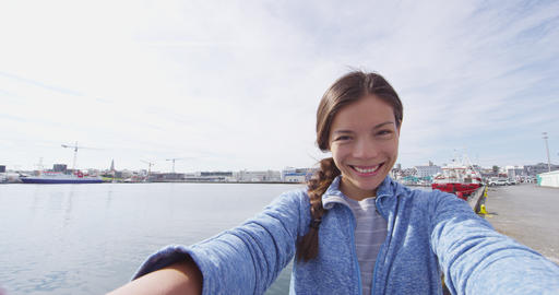 Travel selfie video by woman on travel in Reykjavik Iceland Live Action
