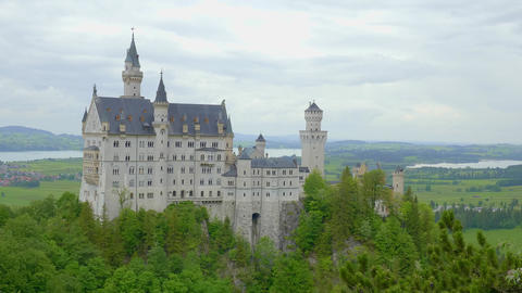Famous Neuschwanstein Castle in Bavaria Germany Live Action