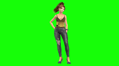 778 4k 3d computer generated chique womanwith ponytail hair waiting sombody Animation