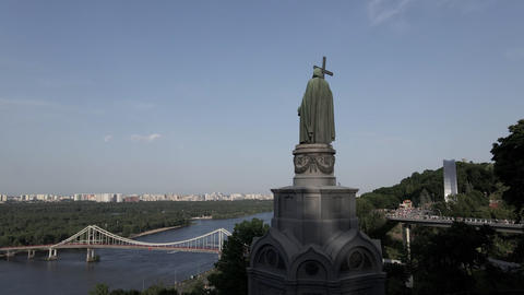 The architecture of Kyiv. Ukraine: Monument to Volodymyr the Great. Aerial view Live Action