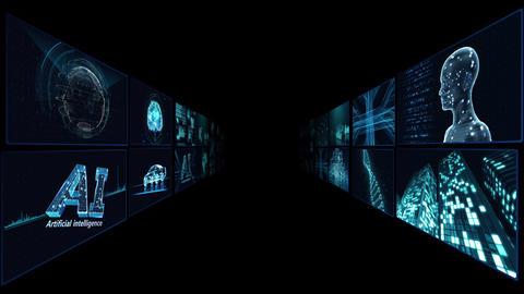 Digital Network Technology AI artificial intelligence data concepts Background B Tate A1 2x2 blue CG動画