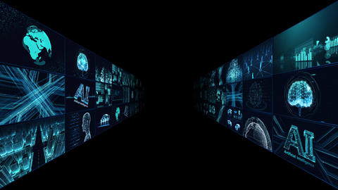Digital Network Technology AI artificial intelligence data concepts Background B Tate A1 3x3 blue Animation