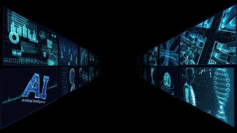 Digital Network Technology AI artificial intelligence data concepts Background B Tate A2 2x2 blue CG動画
