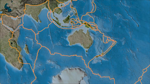 australia tectonic plate. Satellite imagery B. Borders first. Van der Grinten projection Animation