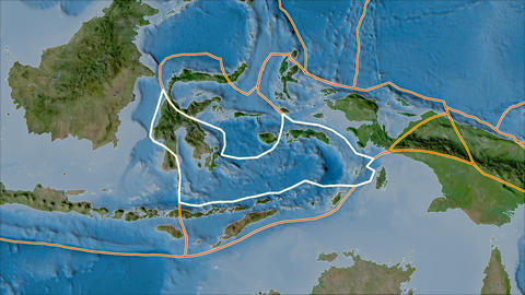 banda sea tectonic plate. Satellite imagery B. Stroke first. Van der Grinten projection Animation