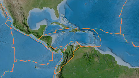 caribbean tectonic plate. Satellite imagery A. Borders first. Van der Grinten projection Animation