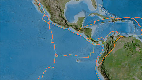 cocos tectonic plate. Satellite imagery B. Borders first. Van der Grinten projection Animation