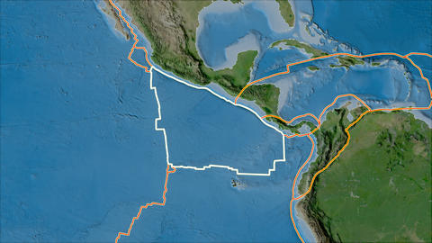 cocos tectonic plate. Satellite imagery A. Stroke first. Van der Grinten projection Animation