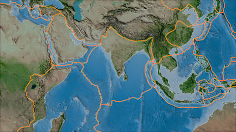 india tectonic plate. Satellite imagery A. Borders first. Van der Grinten projection Animation