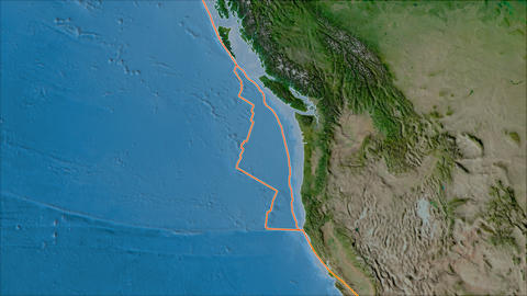 juan de fuca tectonic plate. Satellite imagery A. Borders first. Van der Grinten projection Animation