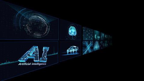 Digital Network Technology AI artificial intelligence data concepts Background B Tate B1 2x2 blue Animation