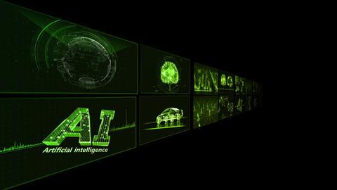 Digital Network Technology AI artificial intelligence data concepts Background B Tate B1 2x2 green CG動画
