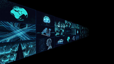 Digital Network Technology AI artificial intelligence data concepts Background B Tate B1 3x3 blue CG動画