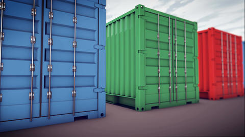 cargo containers Animation