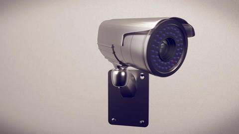 Security cameras frontal view on white wall Animation
