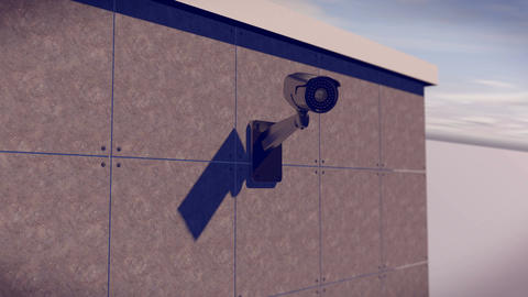 Security CCTV camera mounted on the building wall Animation
