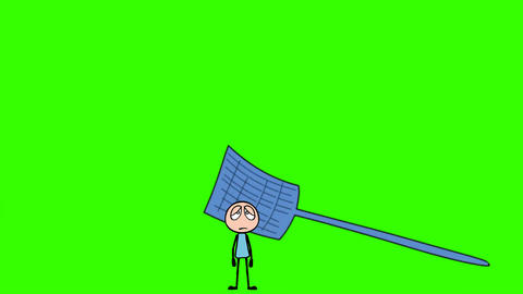 Cartoon Stick Man, Hit by Fly Swatter: Loop + Matte Animation