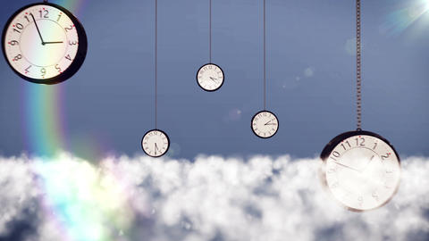 Clocks over clouds in the sky Animation