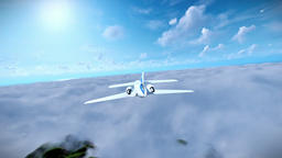 Cessna airplane above afternoon clouds Animation