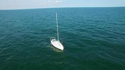 Aerial flight over sailboat, Black Sea Footage
