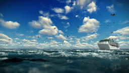 Cruise ship sailing, time lapse afternoon clouds and seagulls, sound included Animation