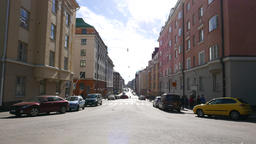 Empty Fredrikinkatu street ad sunny day, perspective view of quiet avenue Footage