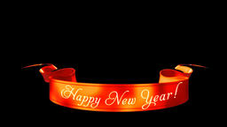 Happy New Year Ribbon isolated, Alpha PNG Animation