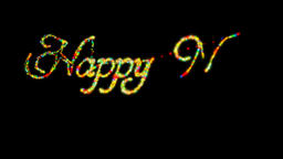Happy New Year made from colorful particles Alpha PNG Animation