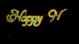 Happy New Year made from colorful particles, Alpha PNG Animation