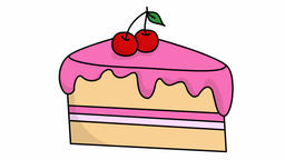 Cake Slice sketch illustration hand drawn animation transparent Footage