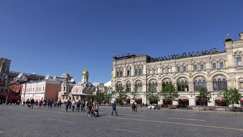 Red square pan shot from State Historical Museum to GUM and Kremlin Footage