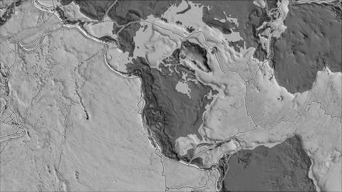 north america tectonic plate. Bilevel elevation. Borders first. Van der Grinten projection Animation