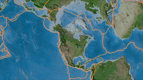north america tectonic plate. Satellite imagery A. Borders first. Van der Grinten projection Animation