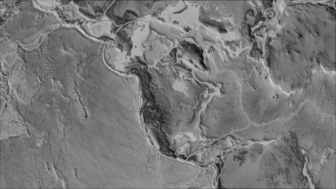 north america tectonic plate. Elevation grayscale. Borders first. Van der Grinten projection Animation