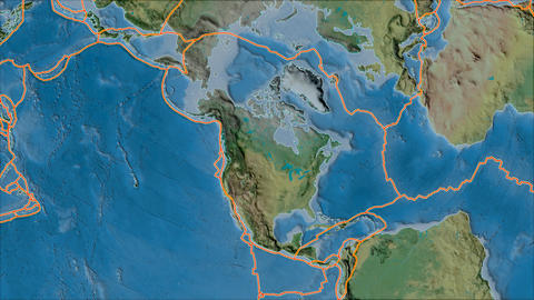north america tectonic plate. Topography. Borders first. Van der Grinten projection Animation