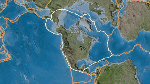 north america tectonic plate. Satellite imagery B. Stroke first. Van der Grinten projection Animation