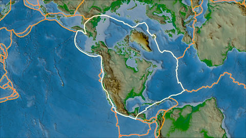 north america tectonic plate. Physical. Stroke first. Van der Grinten projection Animation