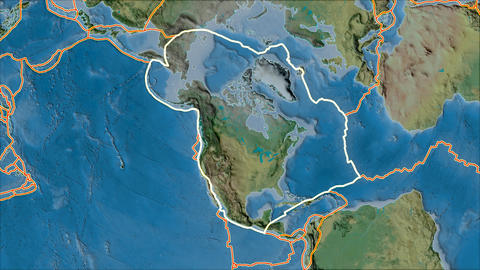 north america tectonic plate. Topography. Stroke first. Van der Grinten projection Animation